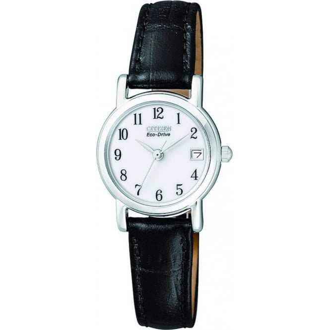 Citizen Watch Ladies Everyday Eco-Drive Watch on Leather Strap EW1270-06A
