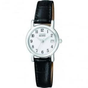 Ladies Everyday Eco-Drive Watch on Leather Strap EW1270-06A