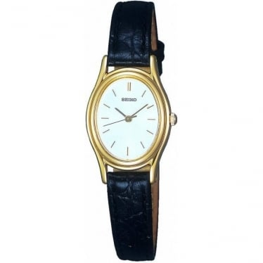 Ladies Gold Plated Battery Watch on Strap SXGA82P1