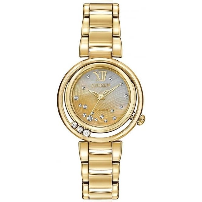 Citizen Watch Ladies Gold Tone Diamond Eco-Drive Bracelet Watch EM0322-53Y