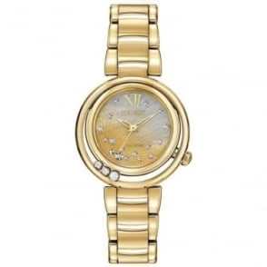 Ladies Gold Tone Diamond Eco-Drive Bracelet Watch EM0322-53Y