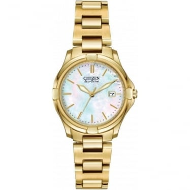 Ladies Gold Tone Eco-Drive Bracelet Dress Watch EW1962-53D