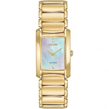 Ladies Gold Tone Eco-Drive Bracelet Watch EG2972-58D