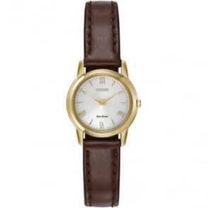Ladies Gold Tone Eco-Drive Slim Watch on Strap EG3042-03A
