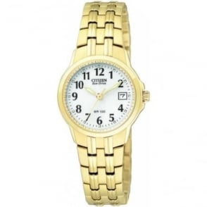 Ladies Gold Tone Eco-Drive Watch on Bracelet EW1542-59A