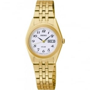 Ladies Gold Tone Seiko Solar Bracelet Watch SUT118P9