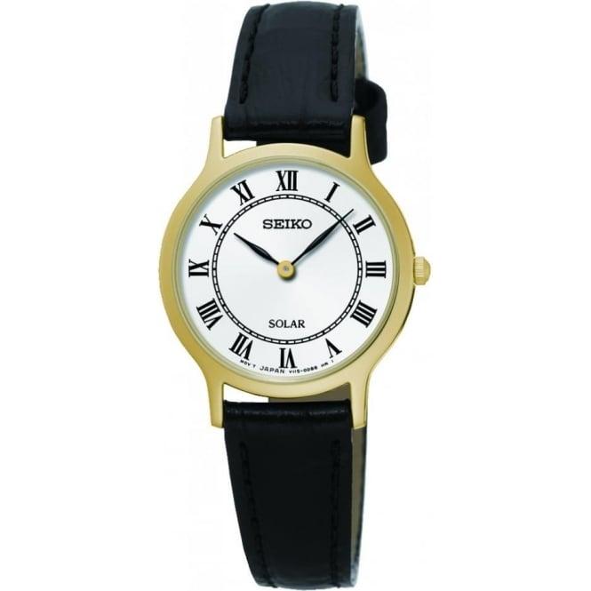 Seiko Watches Ladies Gold Tone Seiko Solar Watch on Leather Strap SUP304P1
