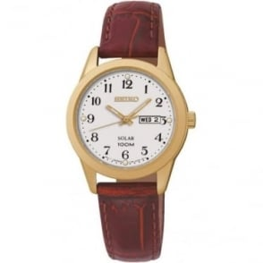 Ladies Gold Tone Solar Powered Watch on Leather Strap SUT196P1