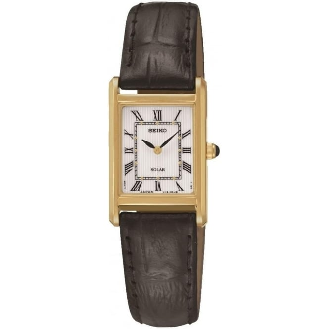 Seiko Watches Ladies Gold Tone Solar Watch on Leather Strap SUP250P1