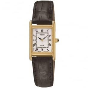 Ladies Gold Tone Solar Watch on Leather Strap SUP250P1