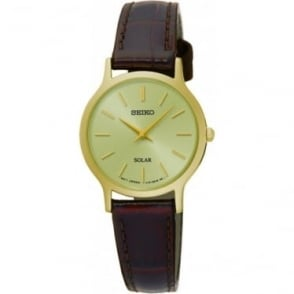 Ladies Gold Tone Solar Watch on Leather Strap SUP302P1