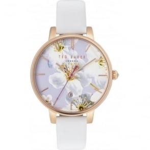 Ladies Gold Tone Ted Baker Watch on White Strap TE10031545