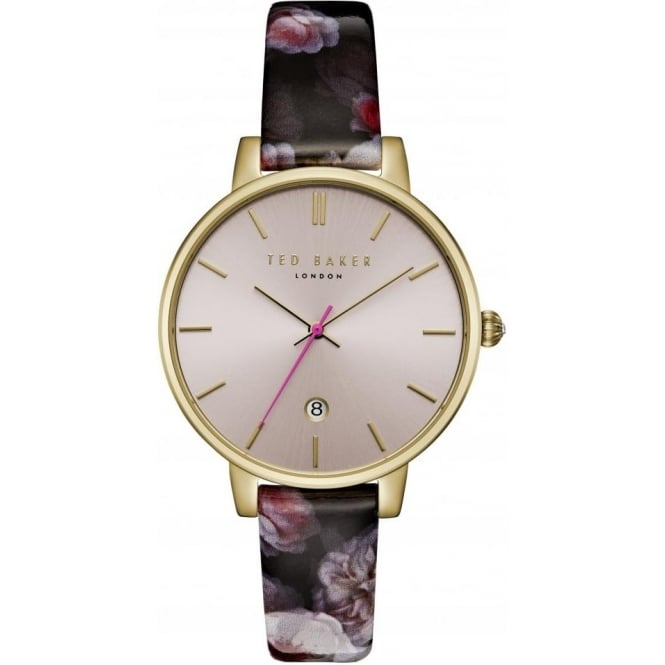 Ladies Gold Tone Watch on Leather Strap TE15092001