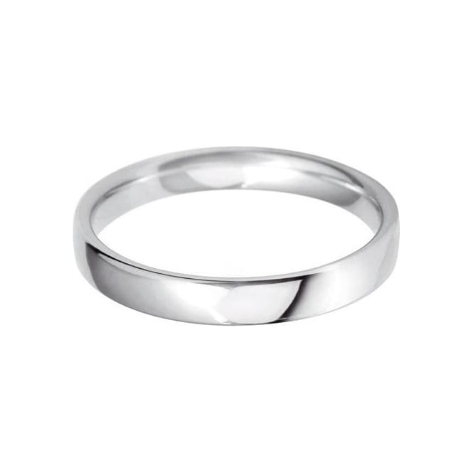 Ladies Platinum Plain Polished Wedding Ring 3mm Wide