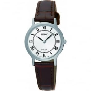 Ladies Seiko Solar Powered Watch on Leather Strap SUP303P1