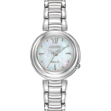 Ladies Stainless Steel Eco-drive Watch on Bracelet EM0330-55D