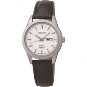 Ladies Steel Seiko Solar Watch on Leather Strap & Date SUT159P2