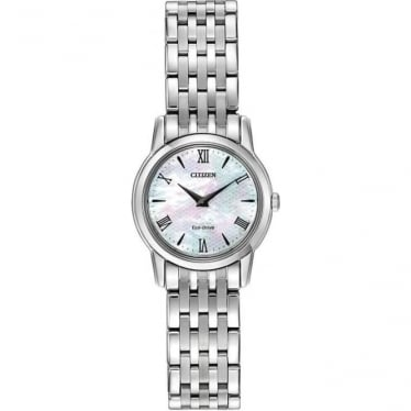 Ladies Steel Slim Eco-Drive Bracelet Dress Watch EG3040-50D