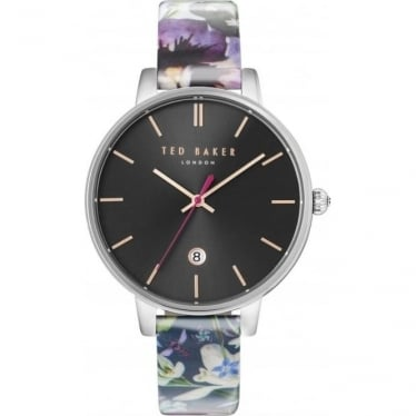 Ladies Steel Ted Baker Watch on Leather Strap & Date TE10031549