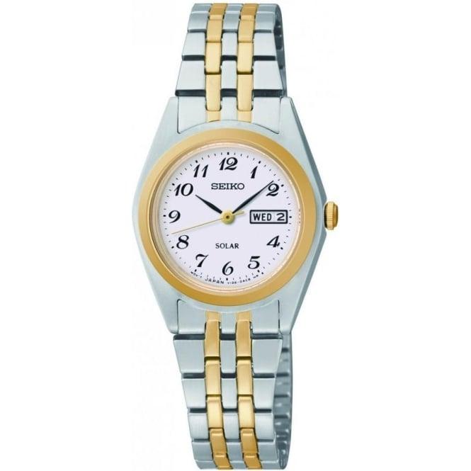 Seiko Watches Ladies  Two Tone Solar Watch on Bracelet SUT116P9