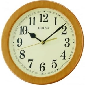 Light Wood Effect Round Quartz Battery Wall Clock QXA686B