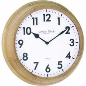 Light Wooden Quartz Battery Round Wall Clock 24375