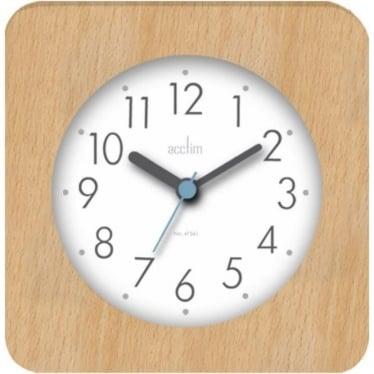 Light Wooden Square Quartz Battery Mantle Clock Syon 33771