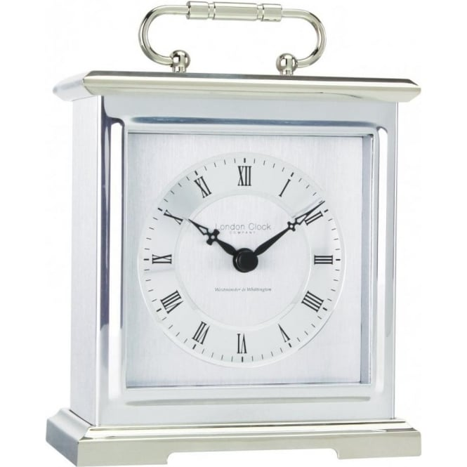 London Clock Company Chrome Finish Westminster Chime Battery Mantle Clock 03036