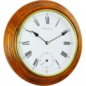 Oak Finish Round Wooden Wall Clock 22340