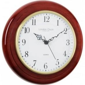 Mahogany Finish Round Battery Wall Clock 22cm 22101