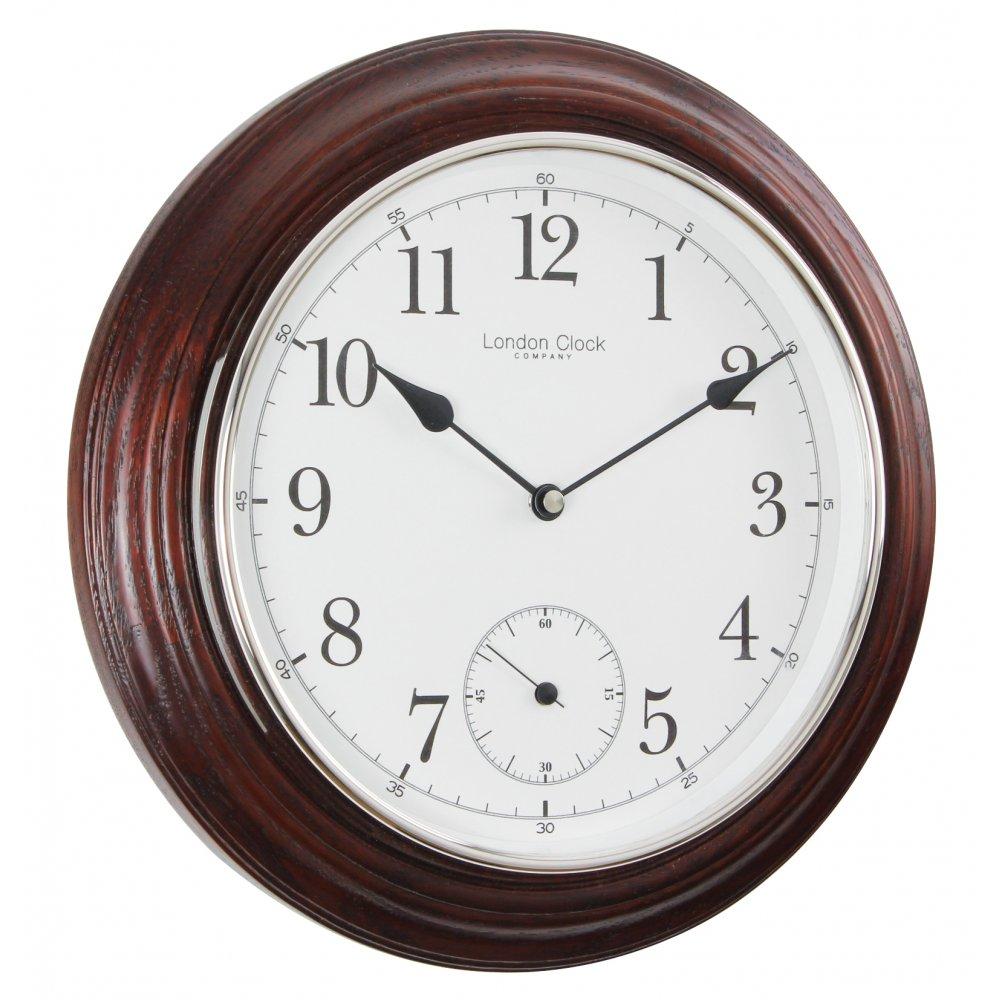 Seiko Mahogany Finish Wood Round Battery Wall Clock 32cm