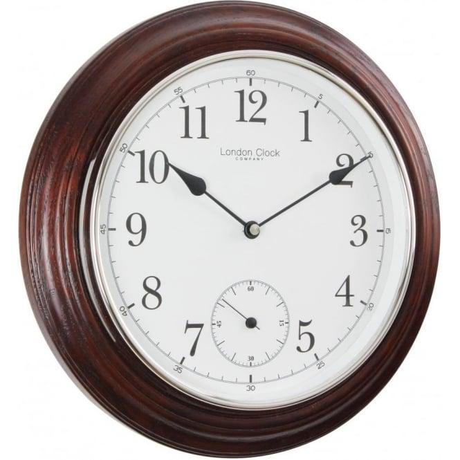 London Clock Company Mahogany Finish Round Battery Wall Clock 32cm 22341