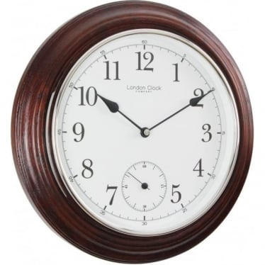 Mahogany Finish Round Battery Wall Clock 32cm 22341