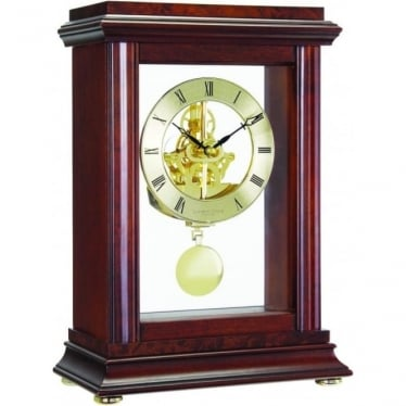 Mahogany Finish Skeleton Pendulum Mantle Clock 07074