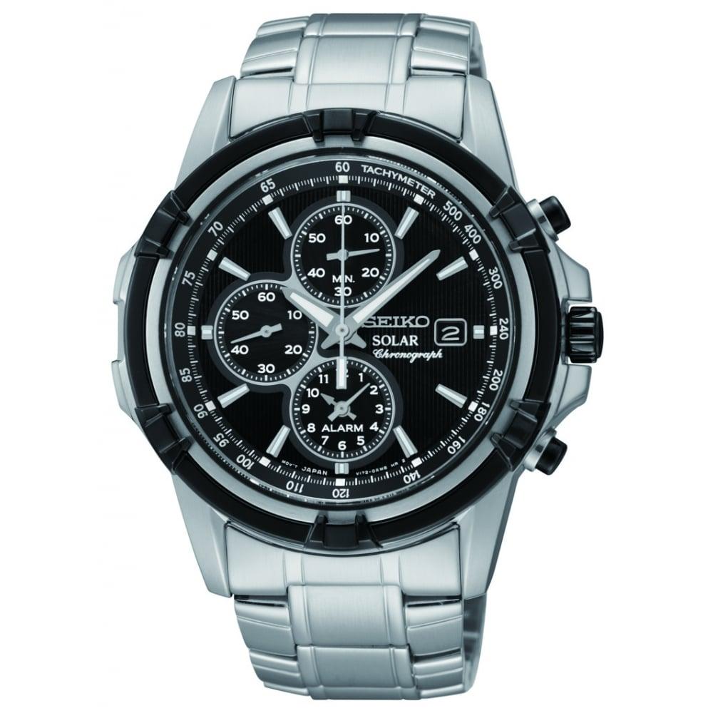 14dbb300fc9 Mens Steel Seiko Solar Alarm Chronograph Bracelet Watch SSC147P1