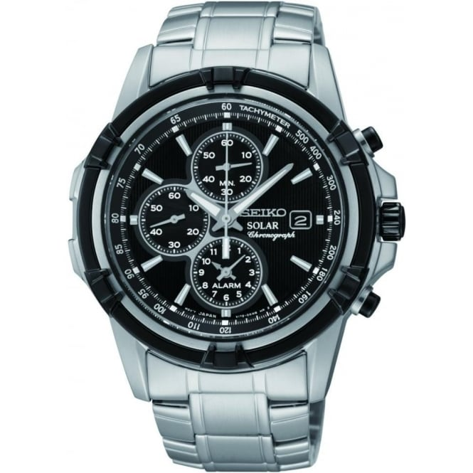 Seiko Watches Mens Steel Seiko Solar Alarm Chronograph Bracelet Watch SSC147P1