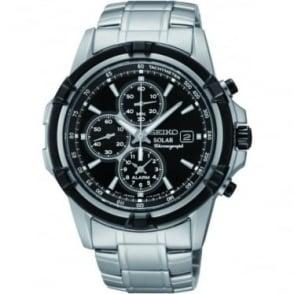 Mens Steel Seiko Solar Alarm Chronograph Bracelet Watch SSC147P1