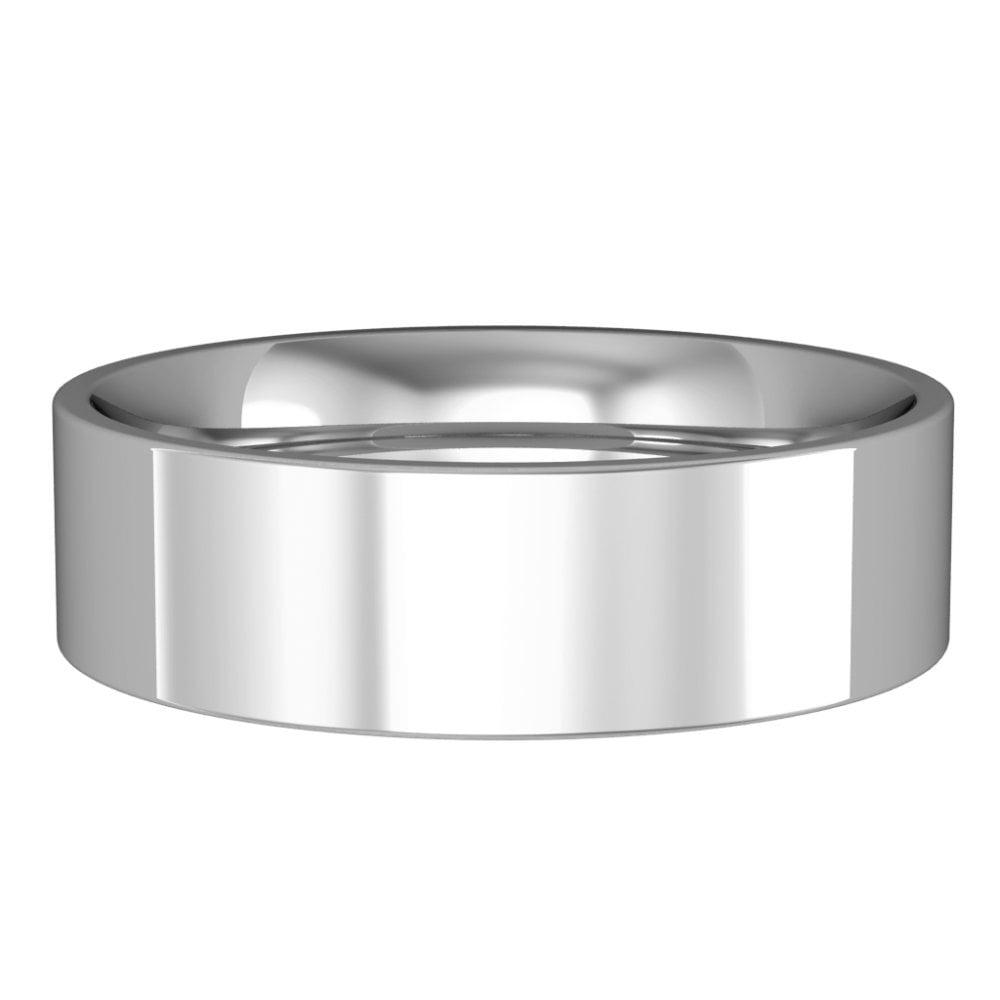 b8ba7e270ecb0 Rigby Jewellers Own Brand Palladium 6mm Wide Flat Court Comfort Fit Wedding  Ring