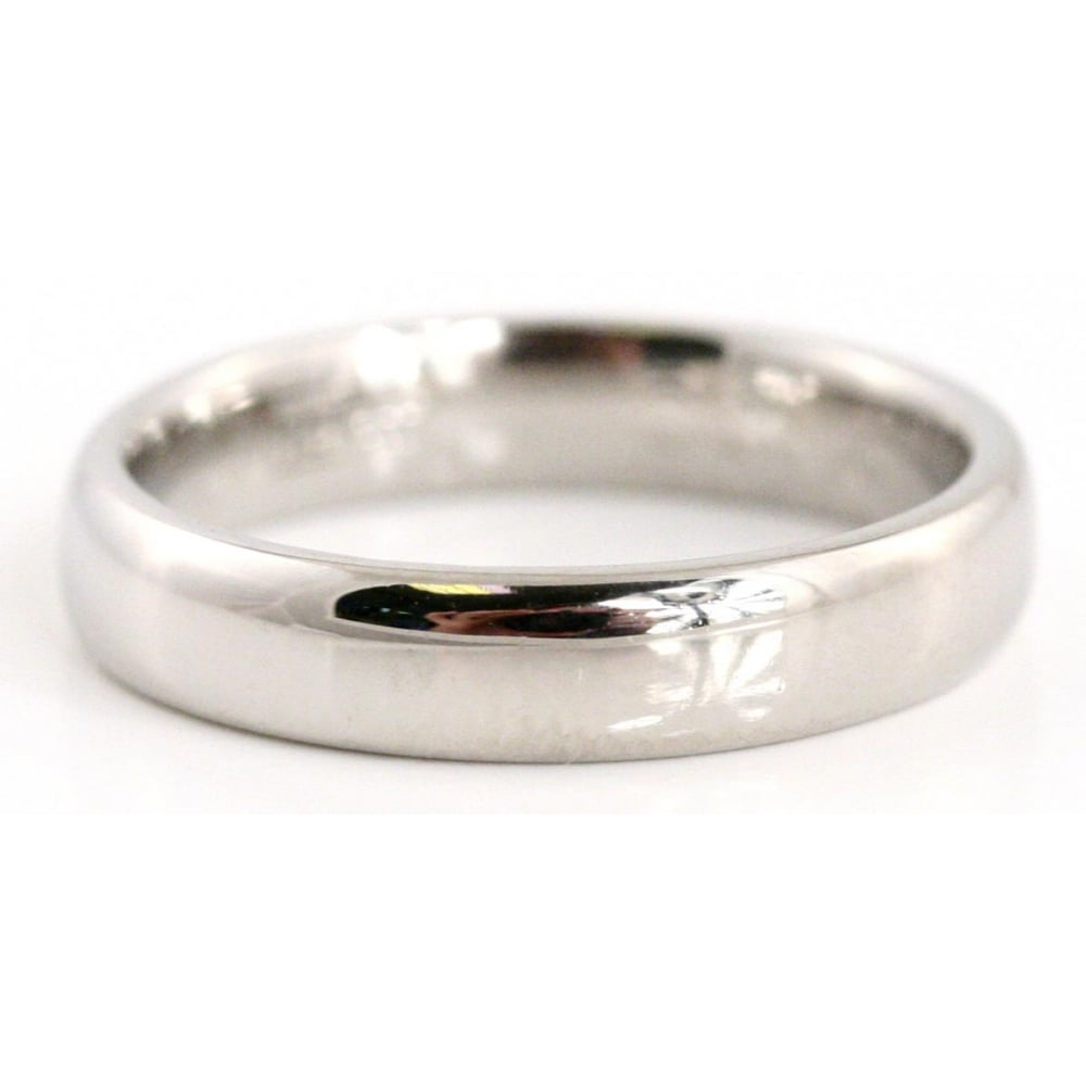 Palladium Flat Court Profile 4mm Wide Wedding Ring