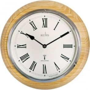 Pine Wood Round Acctim Quartz Battery Wall Clock R/C 74431
