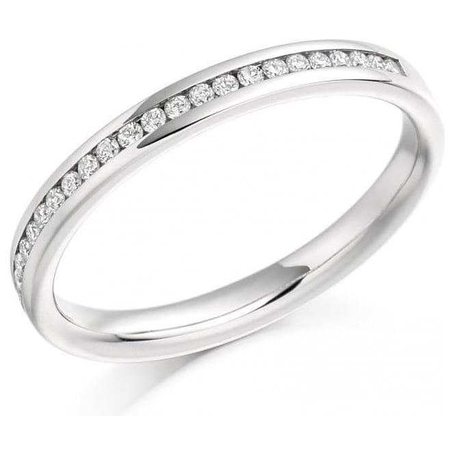 Platinum Channel Set Diamond Wedding Band or Eternity Ring