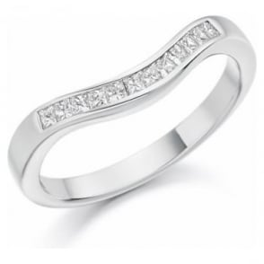 Platinum Curved Diamond Set Wedding Band or Eternity ring