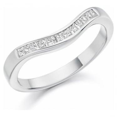 Platinum Curved Diamond Set Wedding Band or Eternity ring