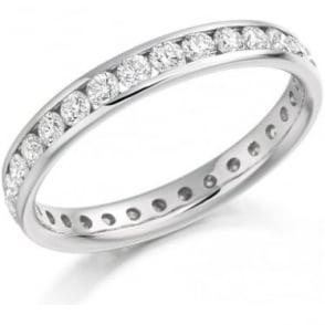 Platinum Diamond Ring 1.04ct Channel Set