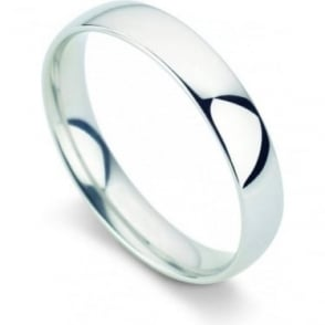 Platinum Plain Polished Wedding Band 4mm Wide