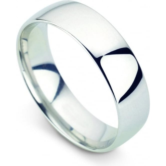 Platinum Plain Polished Wedding Ring 6mm Wide