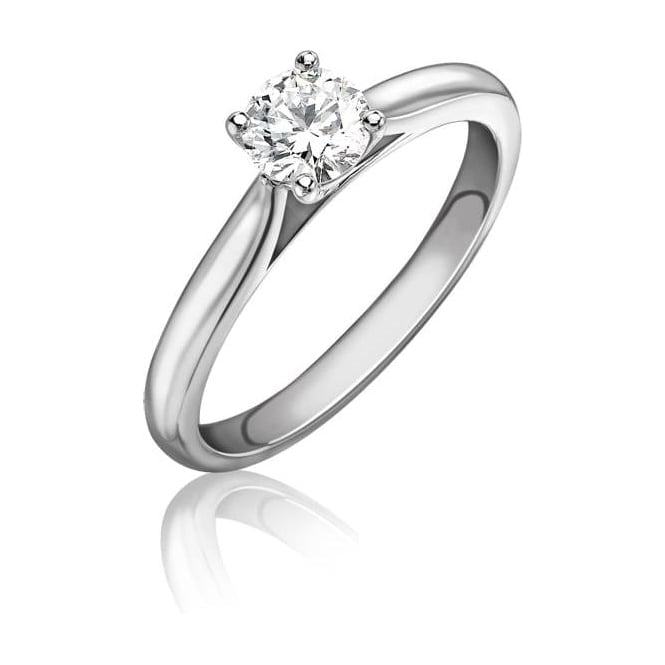 Platinum Single Stone Certificate Diamond Wedfit Engagement Ring