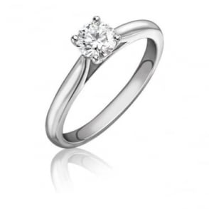 Platinum Single Stone Certificate Diamond Wedfit Engagement Ring