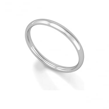Platinum Wedding Ring Court Profile 2mm Band