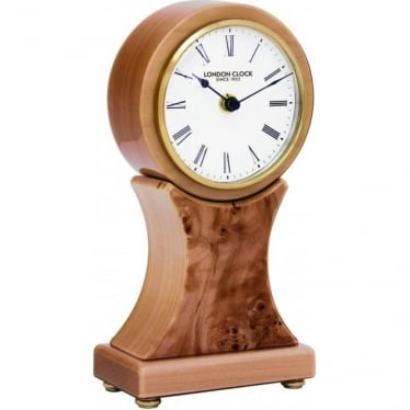 Polished Burr Walnut Light Wooden Battery Mantle Clock 06394